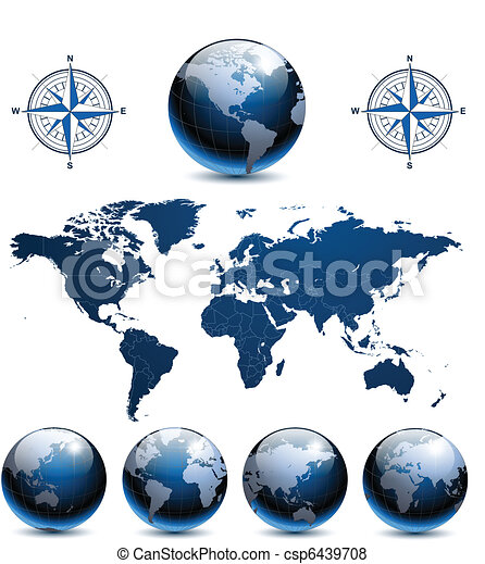 Earth globes with world map - csp6439708