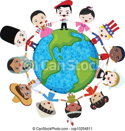 earth multicultural children - csp10254811