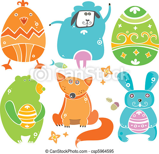 Easter cute set of funny animals - csp5964595