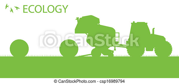 Ecology background organic farming vector concept with tractor making hay bales for poster - csp16989794