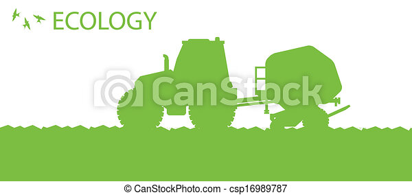 Ecology background organic farming vector concept with tractor and seeder planting crops on a field for poster - csp16989787