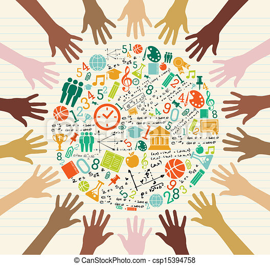 Education global icons human hands. - csp15394758