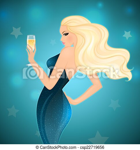 Elegance blond woman with champagne - csp22719656