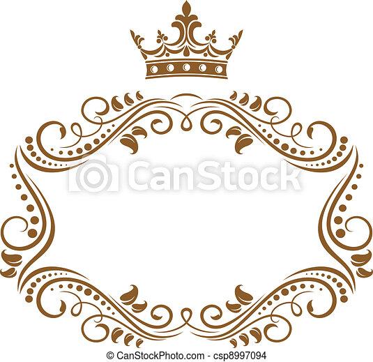 Elegant royal frame with crown - csp8997094