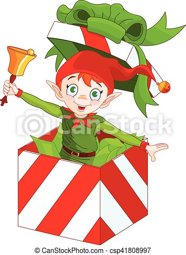 Elf Popping out of a Christmas Box - csp41808997