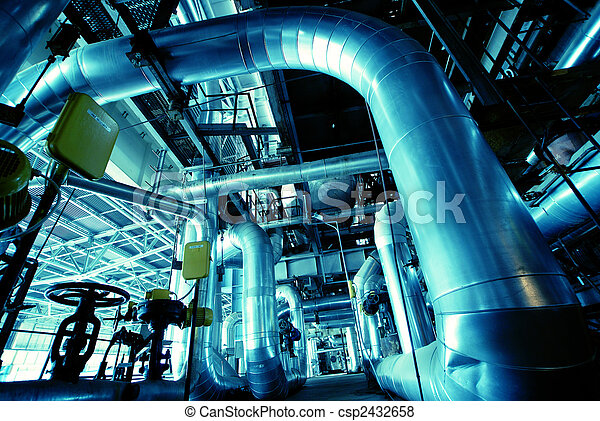 Equipment, cables and piping as found inside of a modern industrial power plant - csp2432658