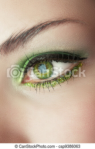 eye of woman with green make-up - csp9386063