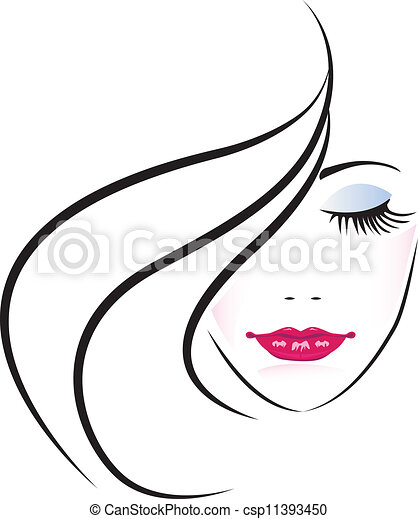 Face of pretty woman silhouette - csp11393450