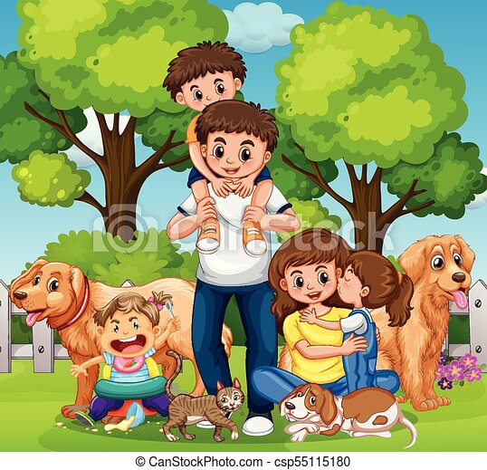 Family with kids and pets in the park - csp55115180