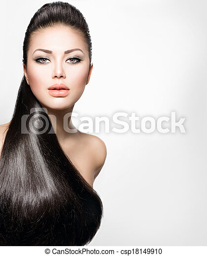 Fashion Model  with Long Healthy Straight Hair - csp18149910