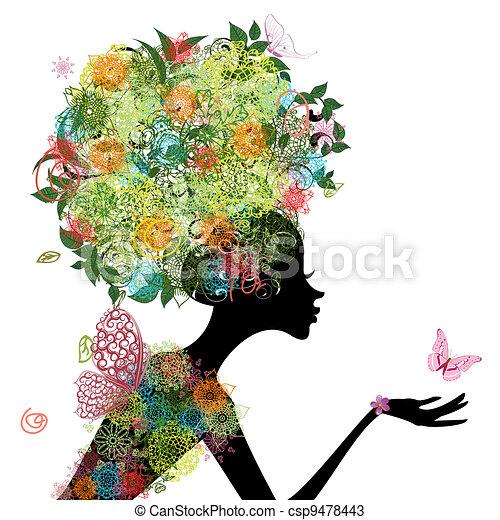 Fashion woman with hair arabesque - csp9478443