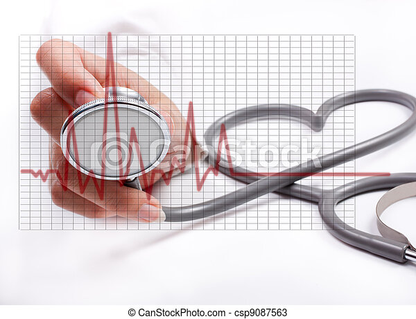 Female hand holding stethoscope; health care concept - csp9087563