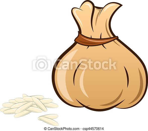 filled rice bag on white background - csp44570614