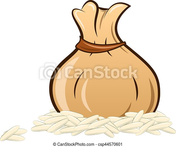filled rice bag on white background - csp44570601