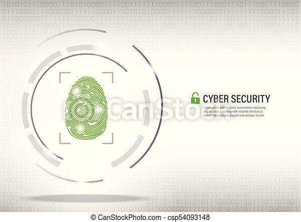 fingerprint on digital white background. - csp54093148