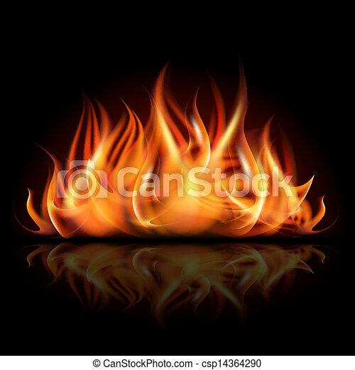 Fire on dark background. - csp14364290
