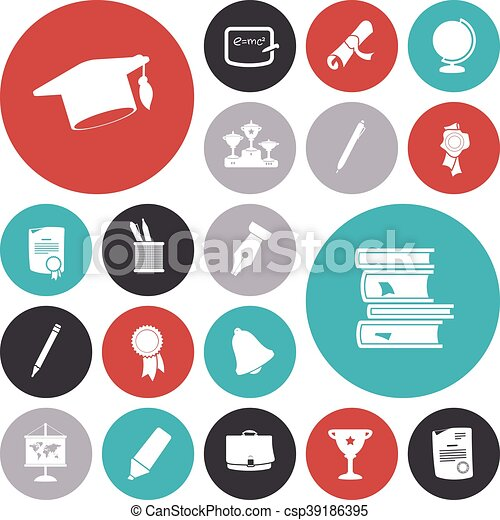 Flat design icons for education - csp39186395