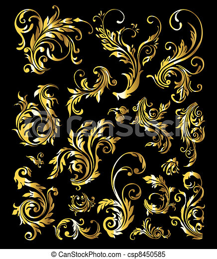 Floral Ornament Set of Vintage Golden Decoration Elements - csp8450585