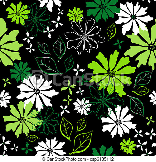 Floral seamless dark pattern - csp6135112