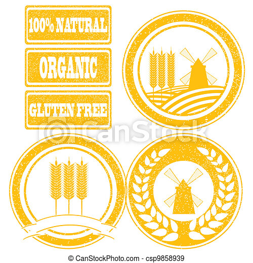 Food orange rubber stamps labels collection for whole grain cereal products - csp9858939
