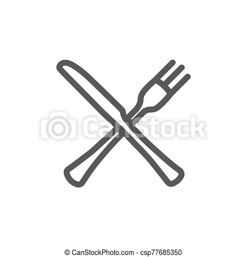 Fork and knife line icon on white background - csp77685350