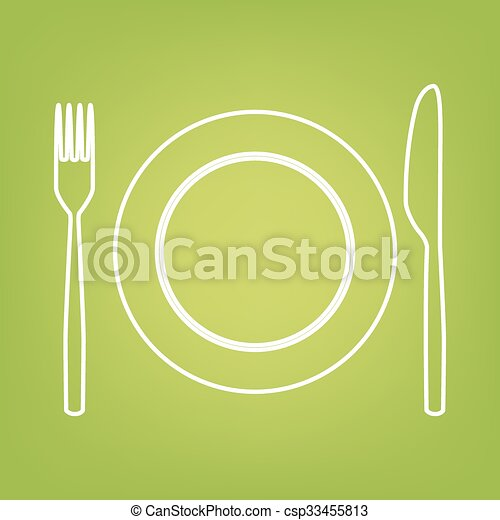 Fork and Knife line icon - csp33455813