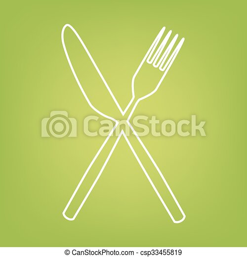 Fork and Knife line icon - csp33455819