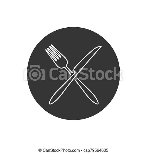 Fork and knife line icon vector. Eat symbol. Vector - csp79564605
