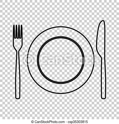 Fork and Knife line vector icon - csp35303815