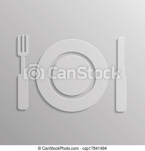 fork and spoon icon - csp17841494