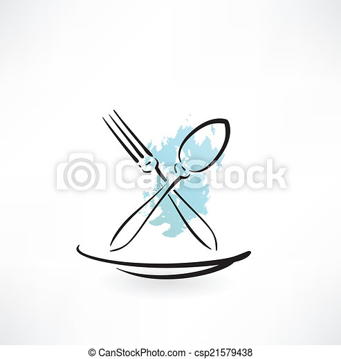 fork and spoon icon - csp21579438
