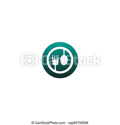 Fork and spoon icon vector - csp84704594