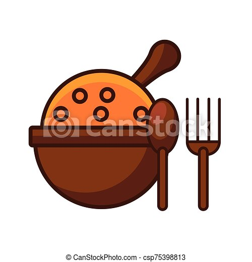 fork and spoon wooden cutleries icon - csp75398813