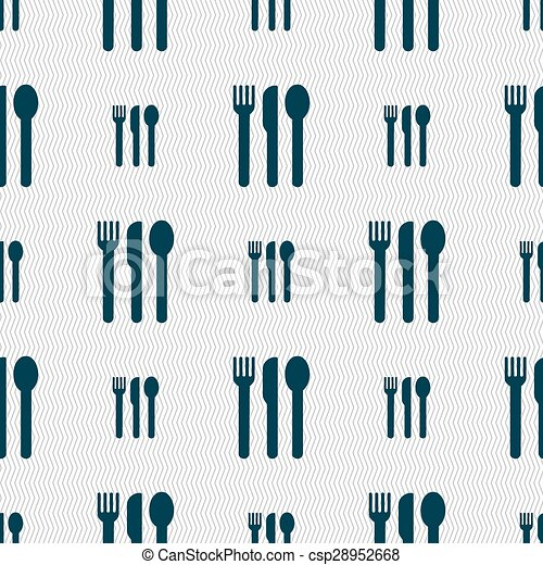 fork, knife, spoon icon sign. Seamless pattern with geometric texture. Vector - csp28952668