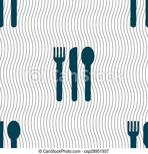 fork, knife, spoon icon sign. Seamless pattern with geometric texture. Vector - csp28951937