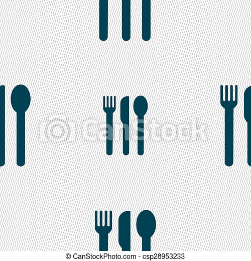 fork, knife, spoon icon sign. Seamless pattern with geometric texture. Vector - csp28953233
