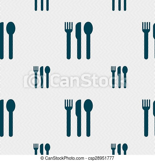 fork, knife, spoon icon sign. Seamless pattern with geometric texture. Vector - csp28951777