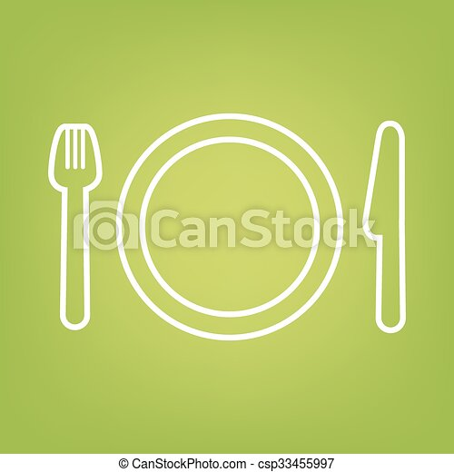 Fork line icon on green background - csp33455997