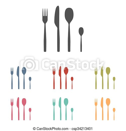 Fork spoon knife icons set - csp34213401