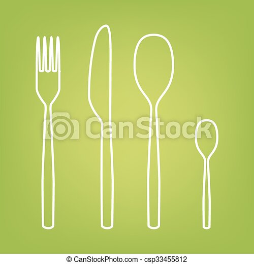 Fork spoon knife line icon - csp33455812