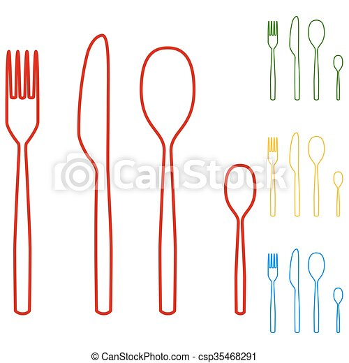 fork spoon knife line icons - csp35468291