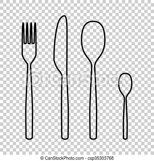 fork spoon knife line vector icon - csp35303768