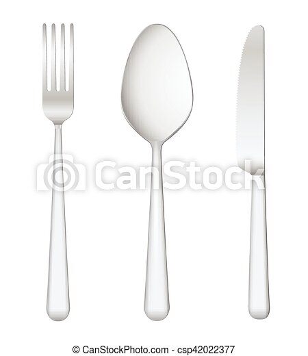 Fork spoon knife on white background - csp42022377