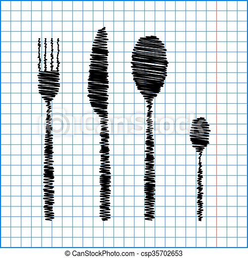 fork spoon knife with pen effect on paper - csp35702653
