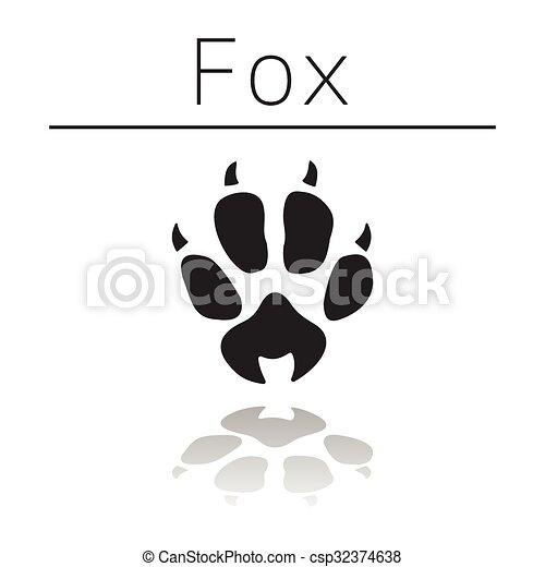Fox animal track - csp32374638