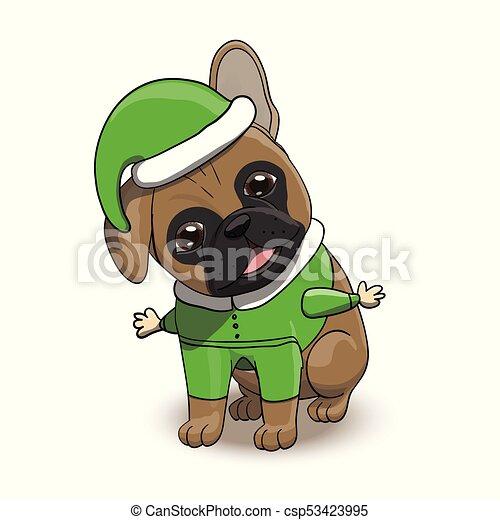 French Bulldog Cartoon Puppy Character Portrait - csp53423995