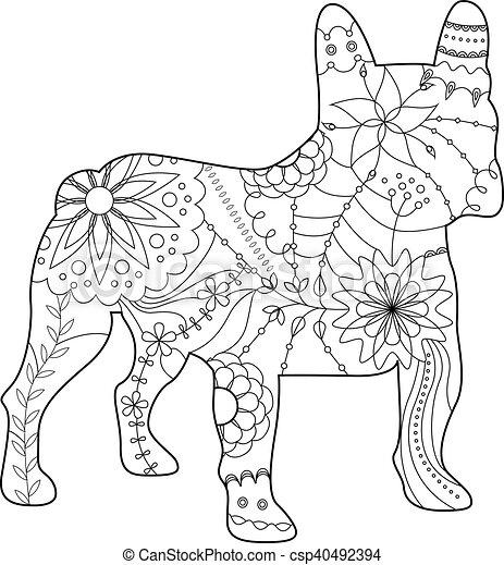 french bulldog coloring - csp40492394