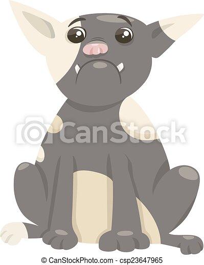 french bulldog dog cartoon - csp23647965