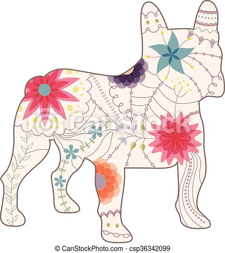 French bulldog painted silhouette vintage - csp36342099