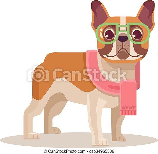 French bulldog. Vector flat cartoon - csp34965506